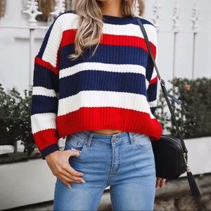 💄💄Perfect Day Navy Red Oversized Cozy Sweater